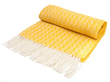 820de791c2 Zig Zag pure new wool knee rug throw Yellow BRITISH MADE by Tweedmill