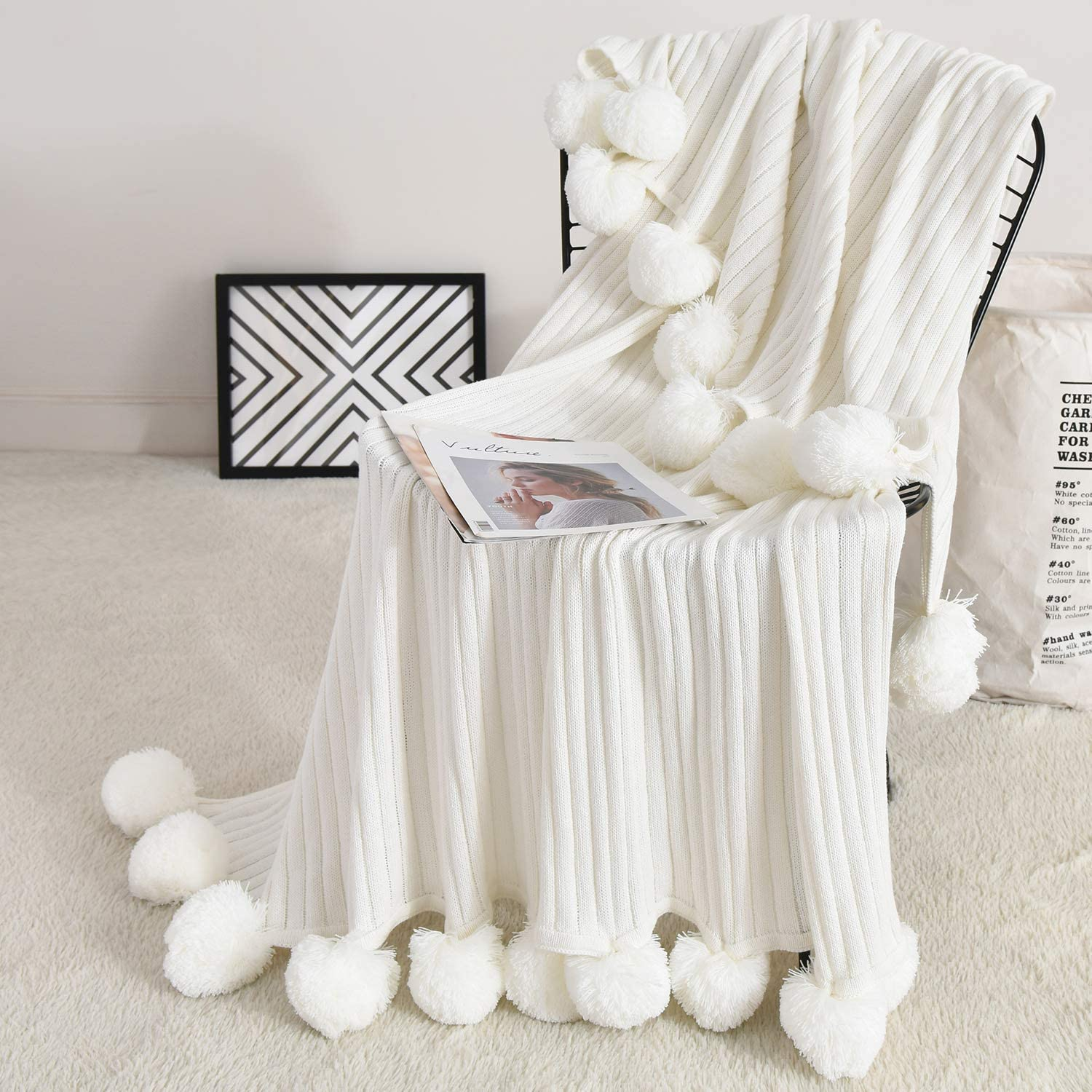 Foomoon Pom Pom Throw Blanket Knit Throw Blankets with Pompom Fringe, 39 x 59 Inch Gifts for Christmas Soft Plush Crochet Blanket, Decorative Cotton Pom Blanket for Couch Sofa (White)…