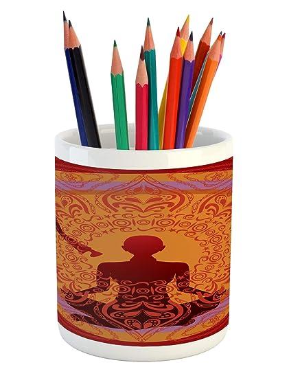 Amazon.com: Lunarable Yoga Pencil Pen Holder, Yoga ...