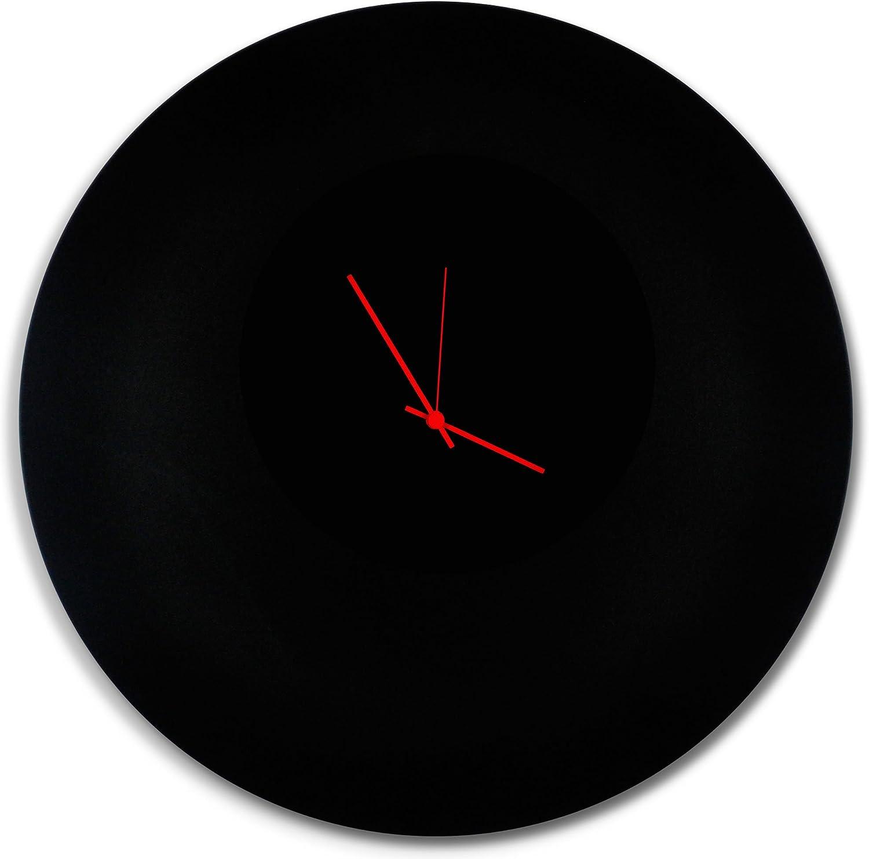 Minimalist Black Clock 'Blackout Red Circle Clock Large' Contemporary Metal Wall Clocks, Monochrome Modern Decor - 23in. Black w/Red Hands