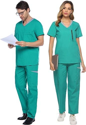 Abollria Uniformes Unisex en 80% Algodón para Enfermera Médica y ...