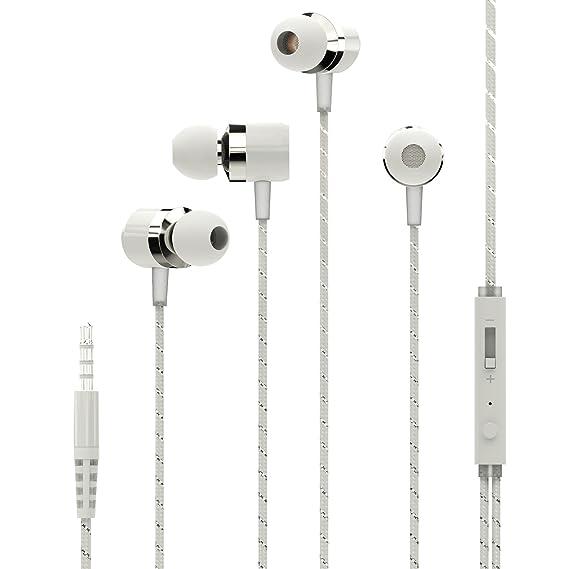 Auriculares blancos in-ear Mosidun® con control de volumen y micrófono para Apple iOS y Android