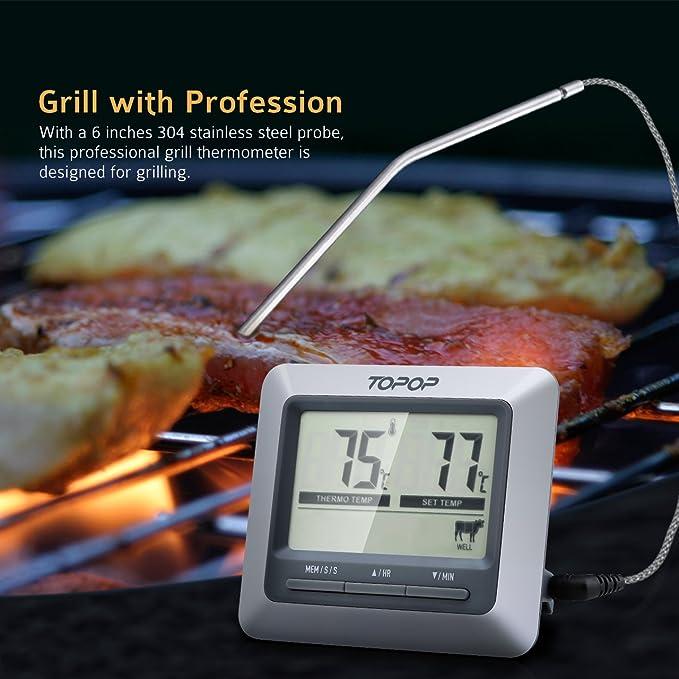 TOPELEK[2 unidades] Termómetro Digital de Cocina,Termómetro de Carne, Termometro Horno con Inoxidable Sonda Lectura Instantánea para Alimentación,Carne ...