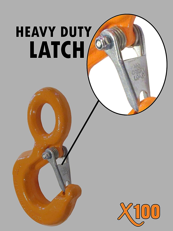 X100 Alloy Eye Hoist Hook 5 Ton w//Latch Rigging Lifting Safety Orange