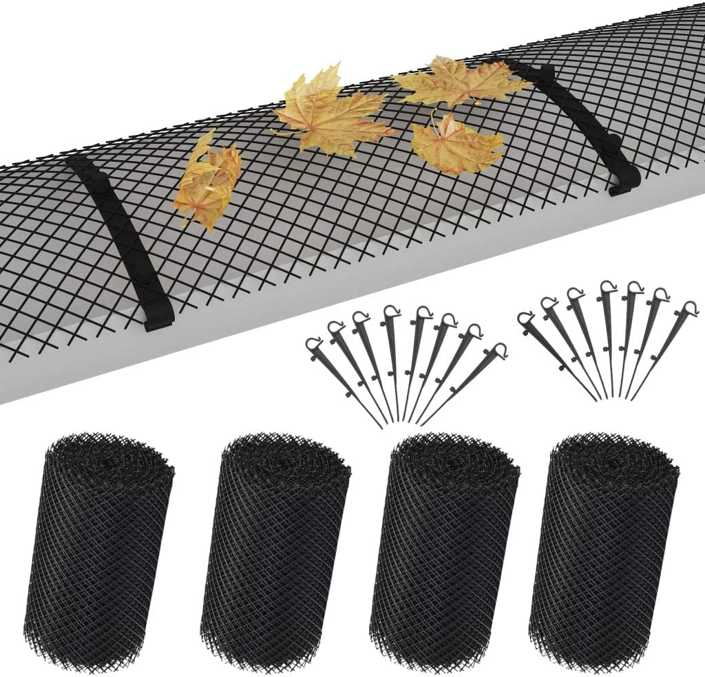 yorten 4 pcs Gutter Mesh Guard Covers with 60 Clips Avoid Leaves Clogging up Gutters HDPE 1.08 ㎡ Black