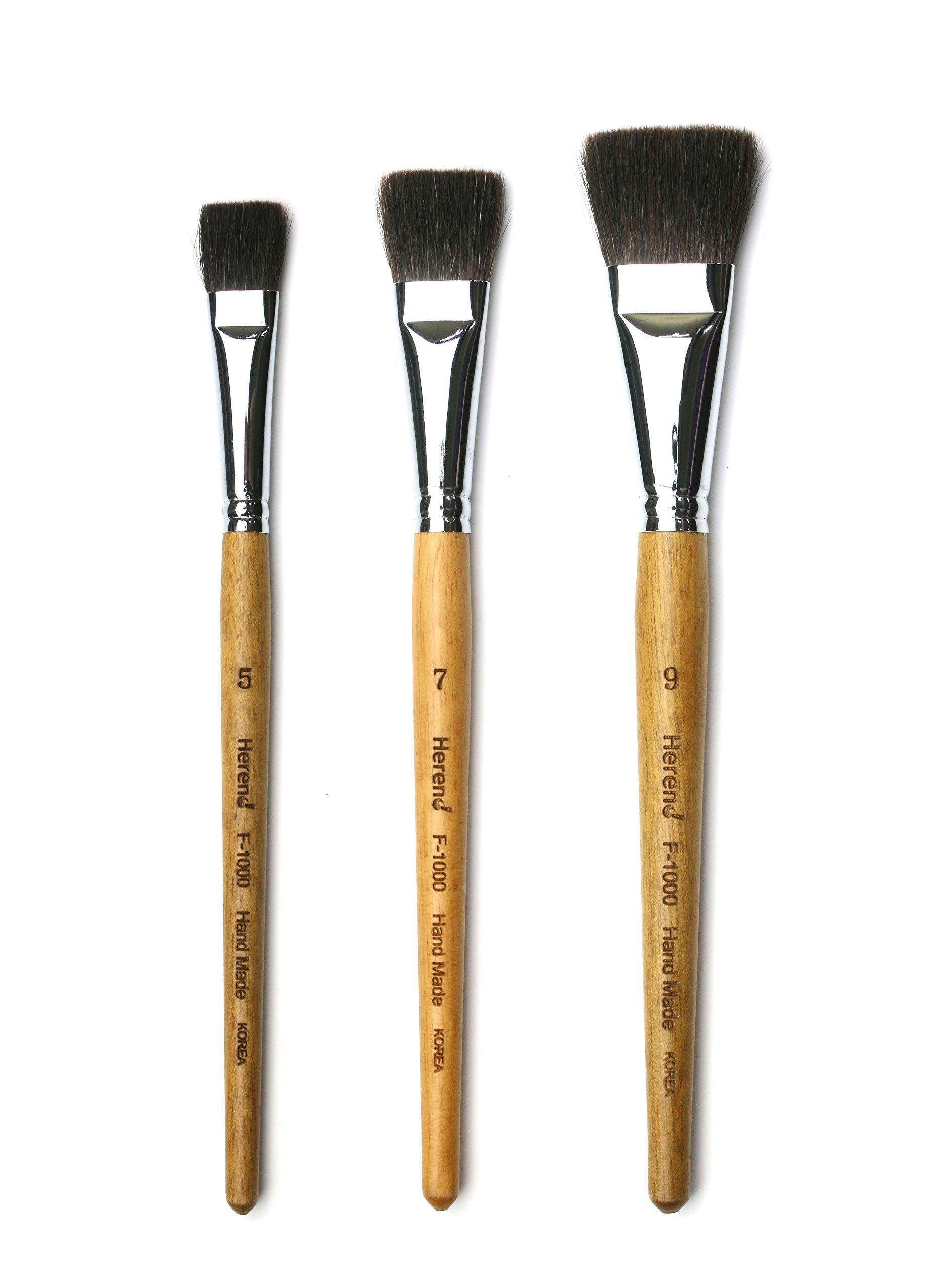 Herend Brush Series F-1000 (No.3 ~ No.13, 30mm ~ 60mm) for Watercolor with Squirrel Hair/Hake Flat Paintbrush (Set (5,7,9)) by Herend Brush