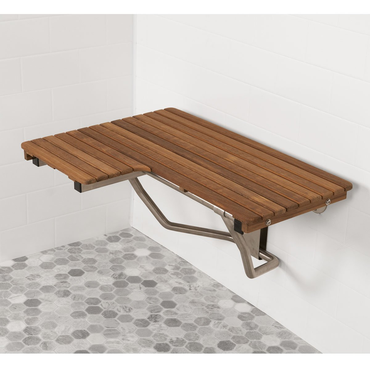 Plantation Teak ADA Wall Mounted Right Handed Shower Bench/Seat (32''x22.5'')