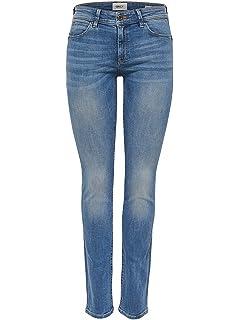 ONLY Damen Jeans onlSISSE RG Slim DNM Jeans SOO1273H - Slim Fit - Blau -  Medium 0a8ab67d5c