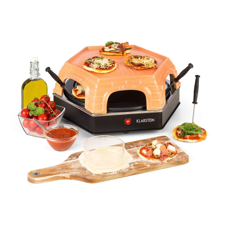 Klarstein Capricciosa • Fornetto • Forno per Pizza • Ideale per 6 Persone • Preparazione di Pizza e Torte • Elettrico • 1500 W • Tempo di Cottura 5-7 Min • Copertura in Terracotta • Funzione Riscaldamento • Nero