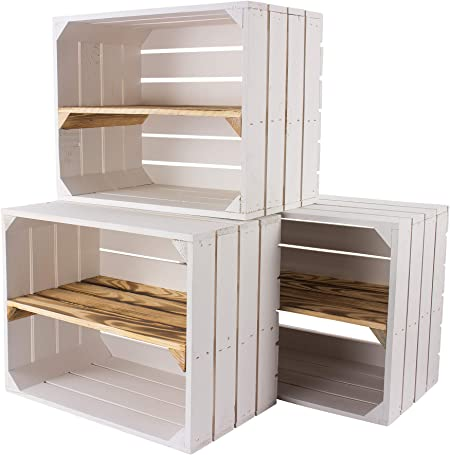 Vintage Mobel 24 Gmbh Set Of 5 White Fruit Crates With Fluted Intermediate Board Lengthwise Wooden Crates As Shoe Rack Shabby Chic 50 X 30 X 40 Cm Amazon Co Uk Kitchen Home