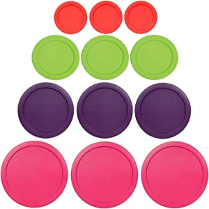 Klareware 1 Cup 2 Cup 4 cup 7 Cup Round Plastic Food Storage Replacement Lids Covers for Klareware Anchor Hocking and Pyrex Glass Bowls (Container not Included) (Pink-Purple-Green-Red)