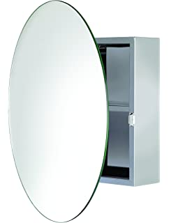 Croydex Severn Stainless Steel Circular Medicine Cabinet With Over Hanging  Mirror Door, 19.7 X 19.7