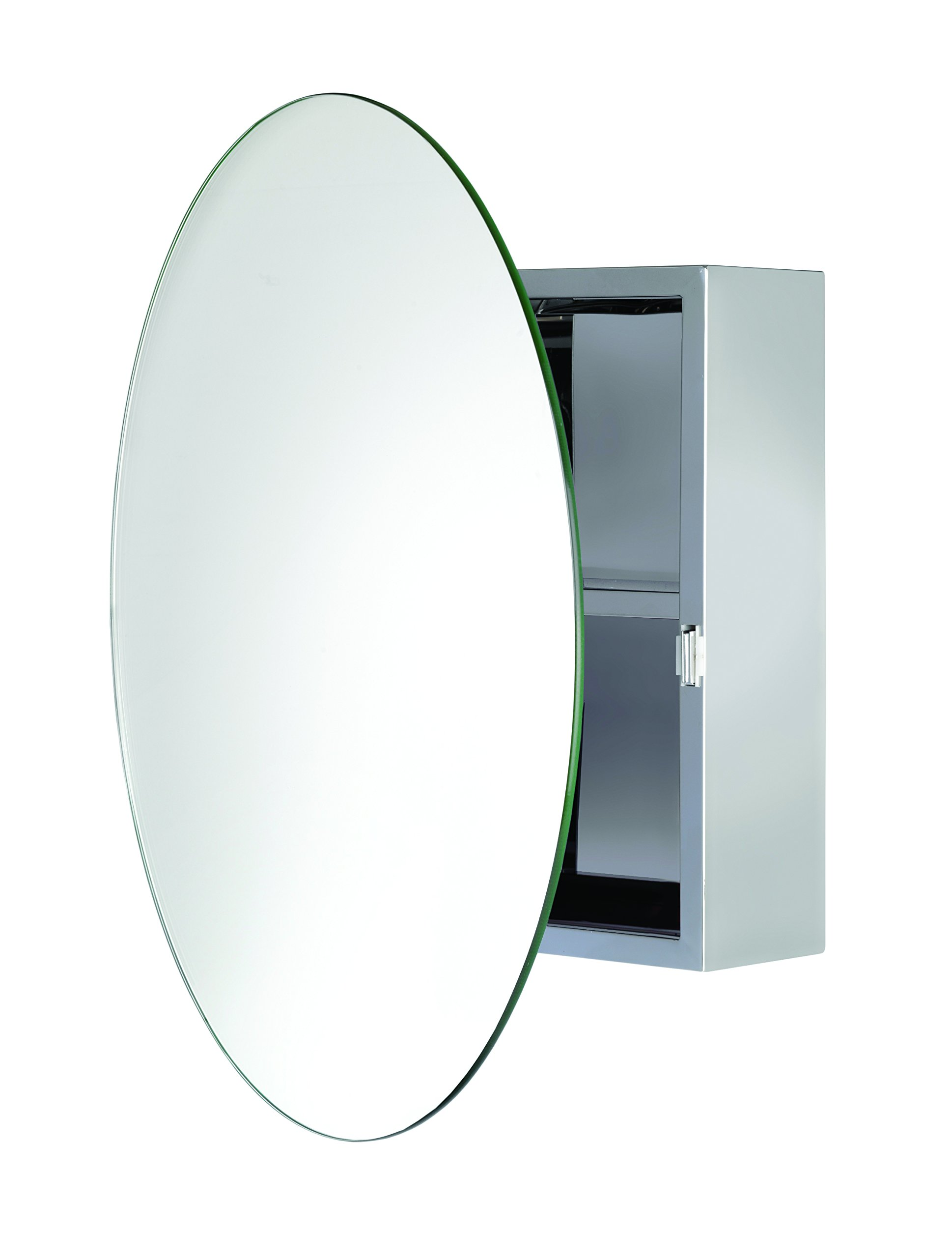 Croydex Severn Stainless Steel Circular Medicine Cabinet with Over Hanging Mirror Door, 19.7 x 19.7 x 3.9 In.