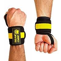 BEAR GRIP - Premium Gewichtheffen Polssteun Wraps, (Verkocht in paren) (Geel)