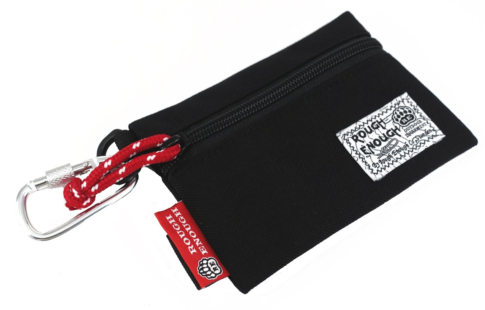 Rough Enough Durable 1000D Cordura Flat Card Pouch Wallet Change Cash Coin Bag Purse With YKK Zipper And Fasten Buckles Perfect Size To Hold Many Small Little Stuffs ,Accessories For Kids (Black)