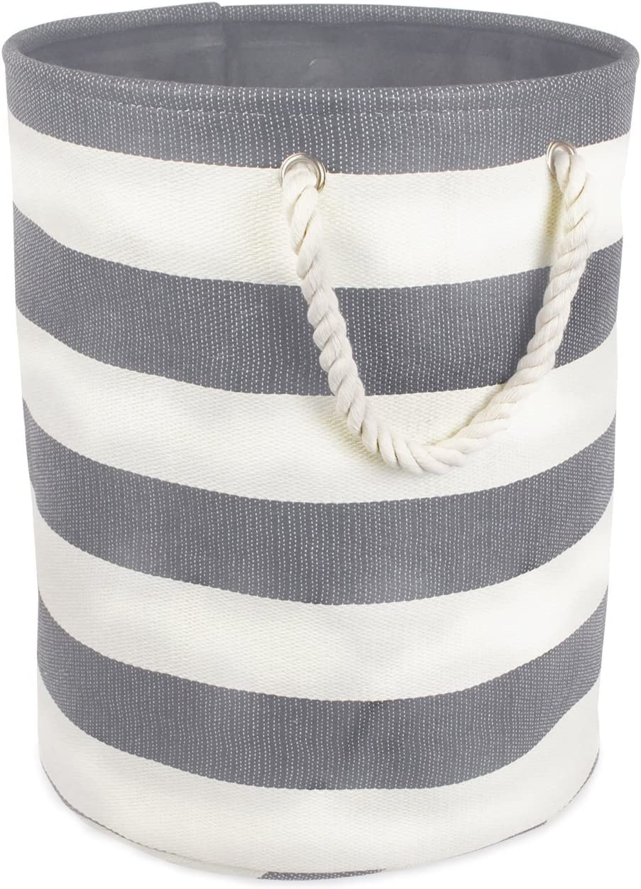 DII Woven Paper Collapsible Laundry Hamper/Storage Basket, 13.75x13.75x12, Round, Gray Stripe