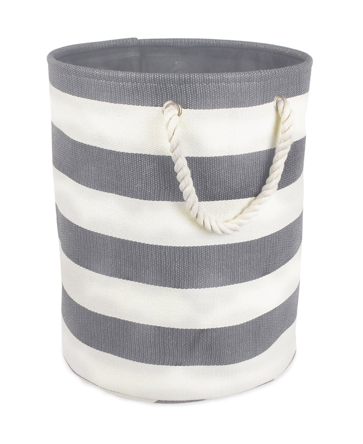 DII Woven Paper Basket or Bin, Collapsible & Convenient Home Organization Solution for Bedroom, Bathroom, Dorm or Laundry (Small Round - 14x12'') - Gray Rugby Rugby Stripe