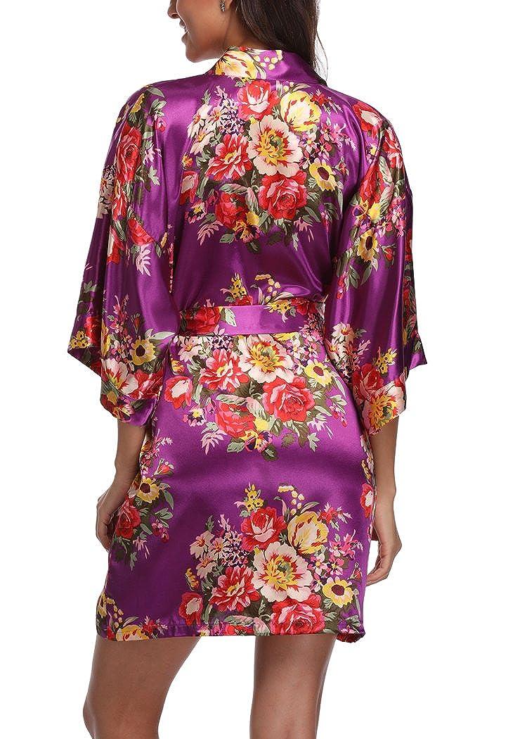 Floral Satin Kimono Robes for Women Short Bridesmaid and Bride Robe for Wedding Party