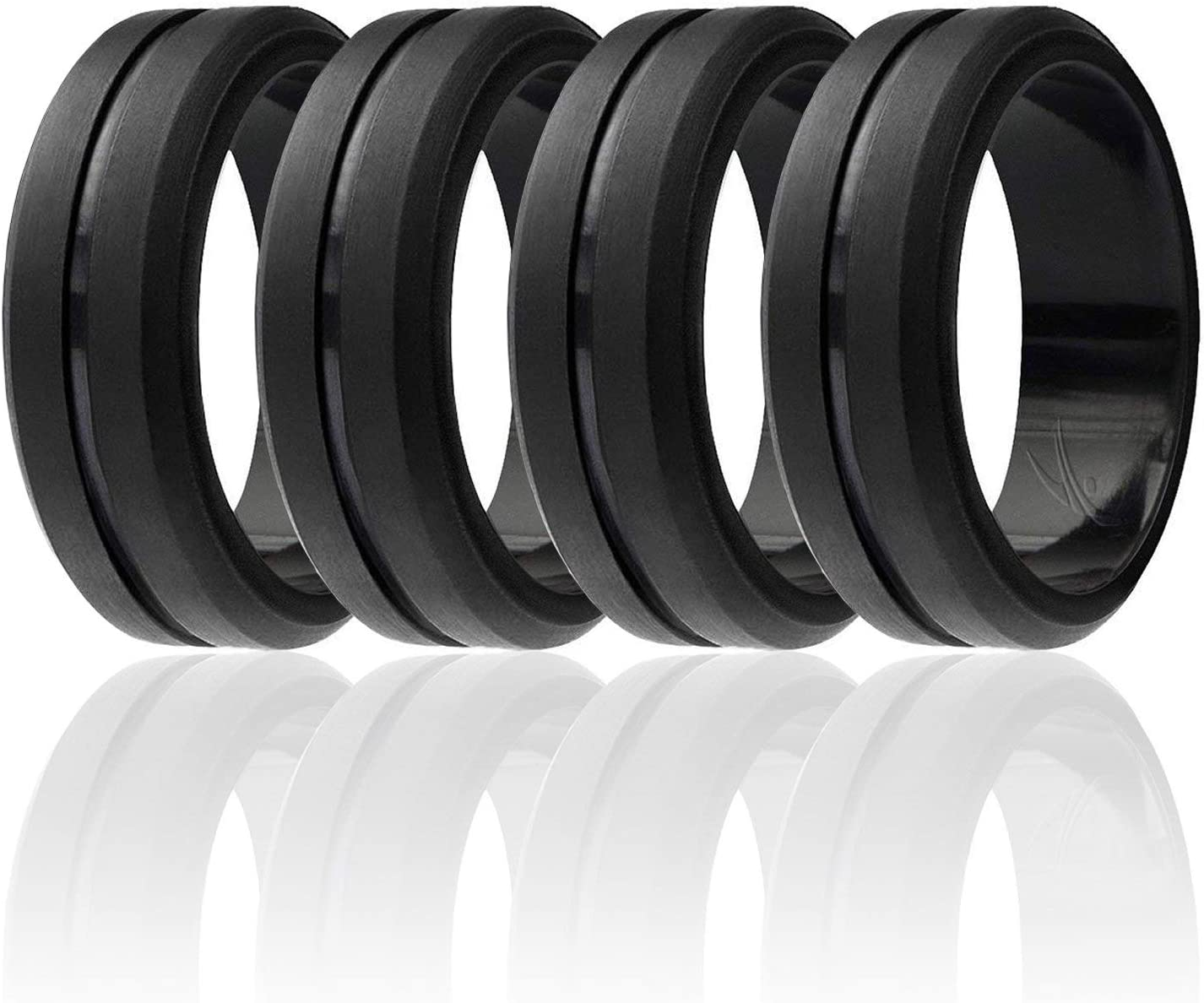 ROQ Silicone Wedding Ring for Men, Elegant, Affordable 8mm Silicone Rubber Wedding Bands, Singles & 4 Pack, Brushed Top Beveled Edges - Black, Metal Silver, Dark Gray
