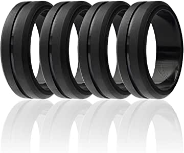 ROQ Silicone Wedding Ring for Men, Set of 4 Elegant, Affordable Silicone Rubber Wedding Bands, Brushed Top Beveled Edges -4 Pack Black - Size 7