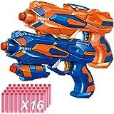 POKONBOY 2 Pack Blaster Guns with 16 PCS Soft EVA Bomb for Kids Hand Gun Toy Blaster Gun