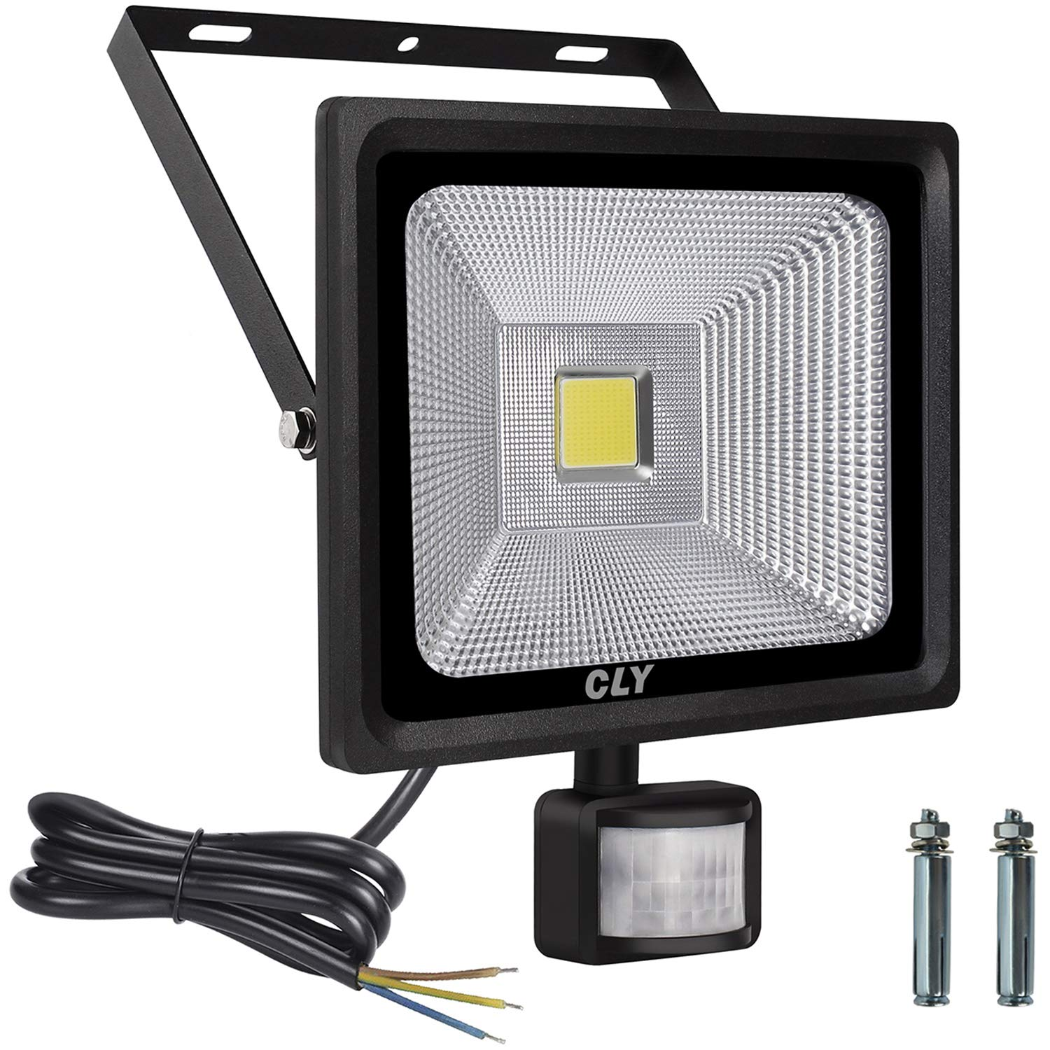 Cly 50W Outdoor Security Light with Motion Sensor, Led Floodlight with PIR, Super Bright Flood Lights with Sensor, Daylight White IP66 Waterproof Outdoor Sensor Light (Update 50w) [Energy Class A++]