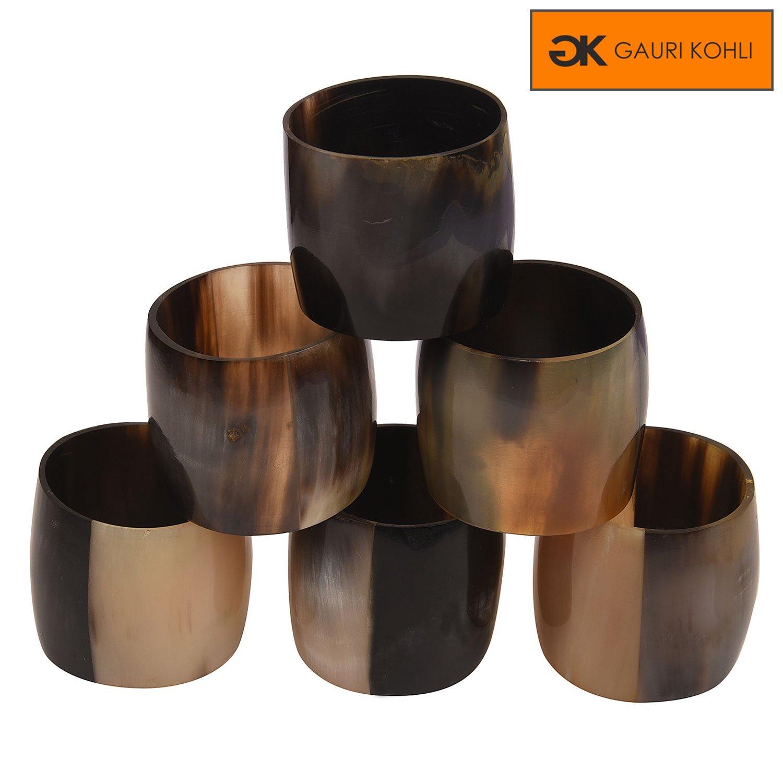 GAURI KOHLI : Fine Grade Horn Napkin Rings (Set of 6)