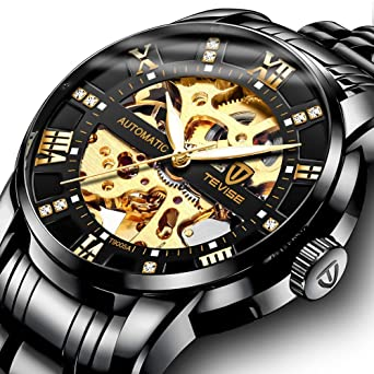 Mens Watch Black Luxury Mechanical Stainless Steel Skeleton Waterproof Automatic Self-Winding Luminous Diamond Dial