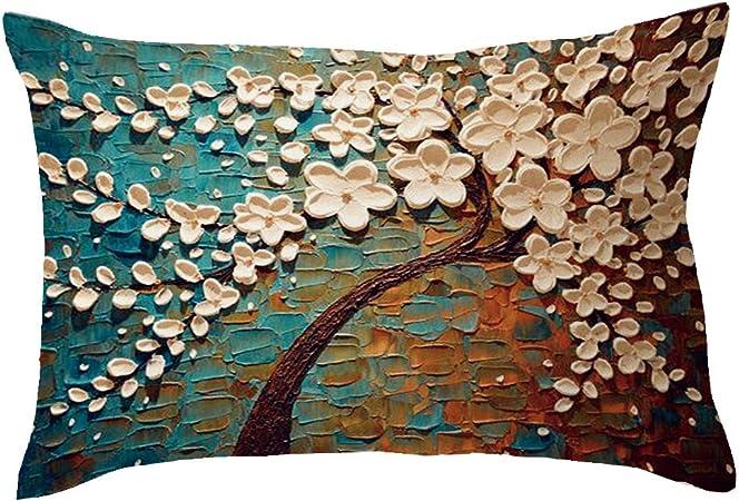 Deelin 1 Pc Taie D Oreiller Canape Coussin Rectangle Creatif Fleurs De Cerisier Arbre Motif Decor A La Maison Housse De Coussin Cas Taie D Oreiller En