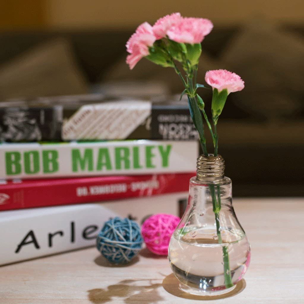 Pack-5 Special Glass Vase in Light Bulb Design Mini Small Flower Pot Hydroponic Water Plant Flower Holder Container