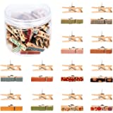 Whaline Push Pins with Colorful Wooden Clips Pushpins 50 Pack Tacks Thumbtacks Clothespins Decorative Craft Paper Clips for C