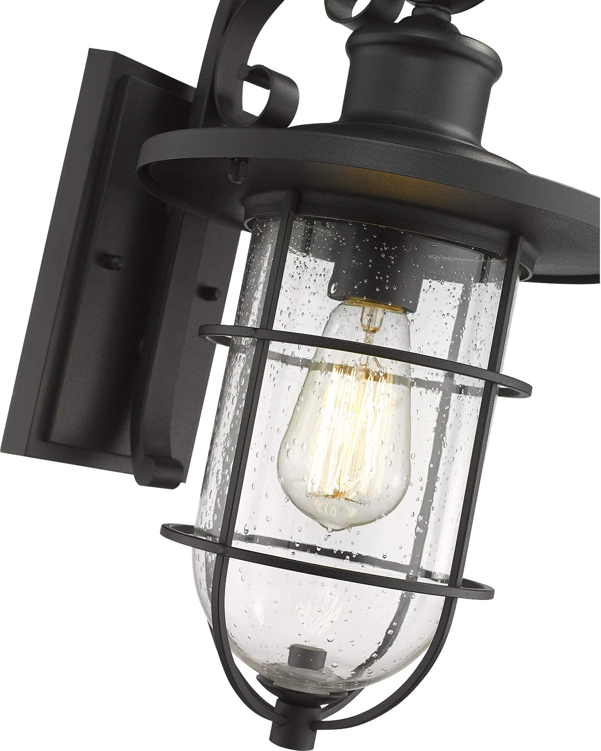 Emliviar Outdoor Wall Sconce 17 Inch Outdoor Wall Light For House Black Finish With Seeded Glass Ye191010w Bk
