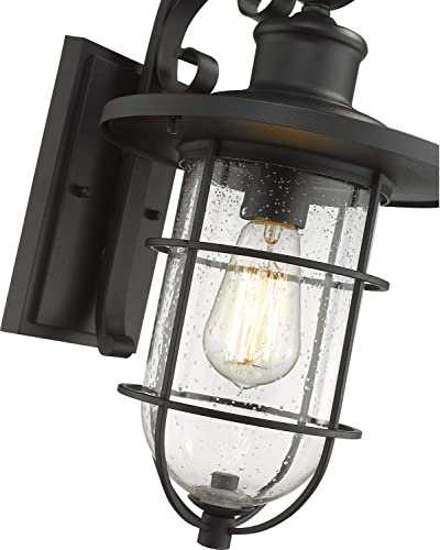 Emliviar Outdoor Wall Sconce, 17 inch Outdoor Wall Light for House, Black Finish with Seeded Glass, YE191010W BK