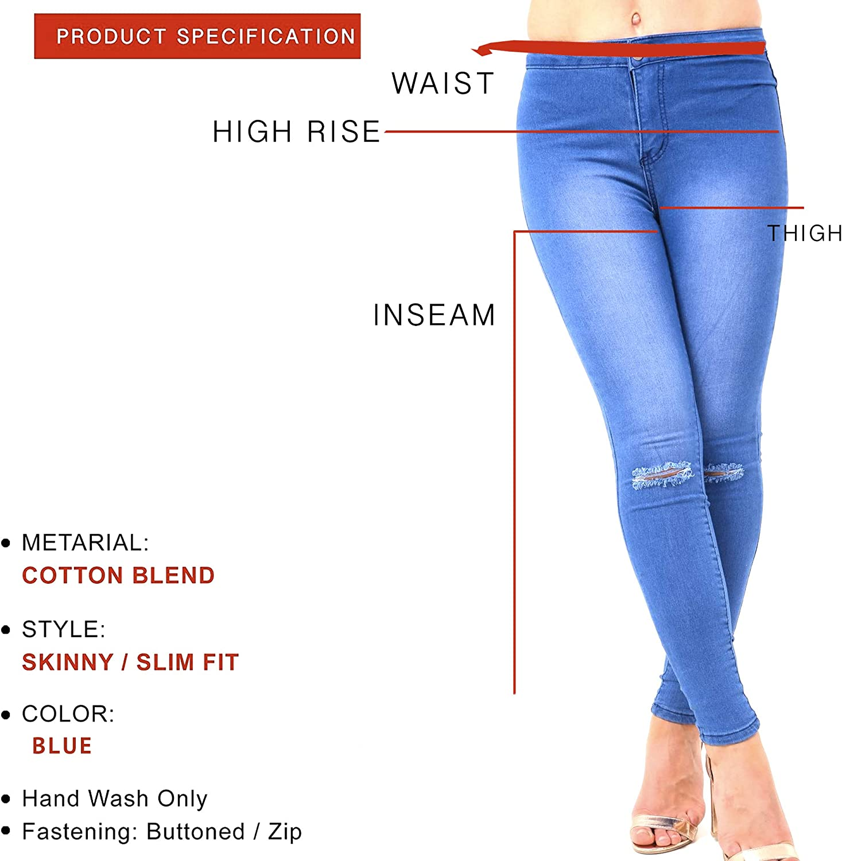 Xelay Womens High Waisted Jeans Super Skinny Boyfriend Ripped Distressed Slim Fit Stretchy Denim Pants