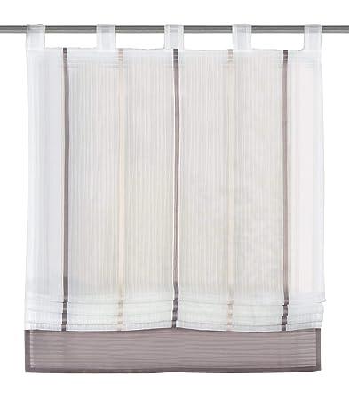 Home Fashion 79187-860 Raffrollo Gabi mit Schlaufen, transparent, Stein / 150 x 100 cm