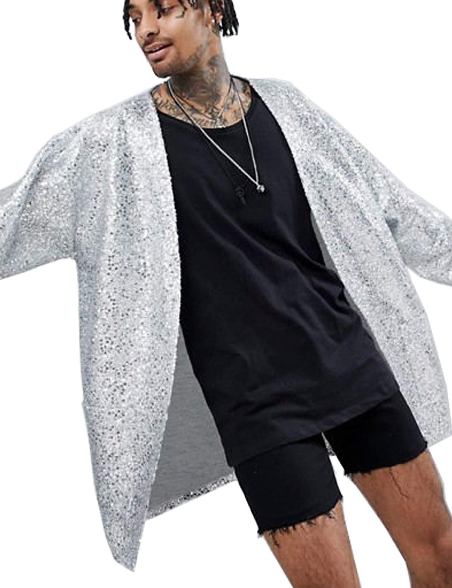 COOFANDY Men's Sequin Cardigan Party Nightclub Hip Hop Stylish Open Front Cape Cloak