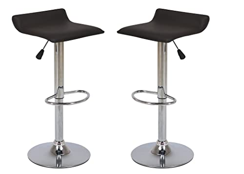Vogue Furniture Direct Adjustable Height Swivel Barstools with Footrest, Black Set of 2 VF1581044-2