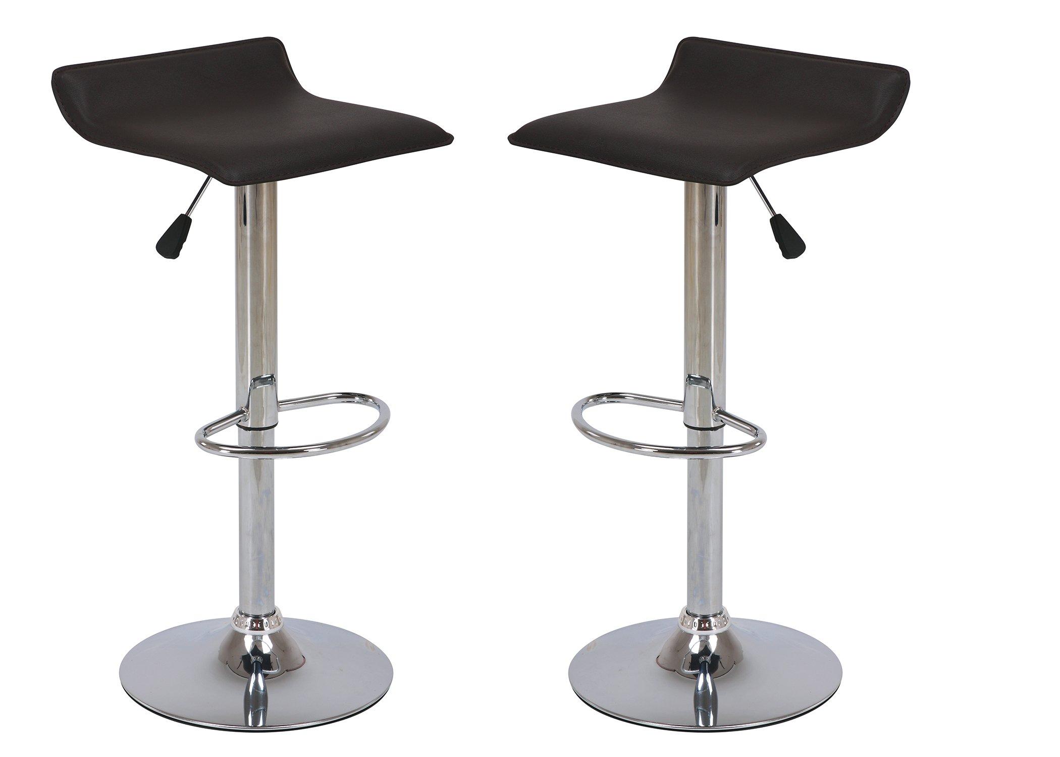 Vogue Furniture Direct Adjustable Height Swivel Barstools with Footrest, Black (Set of 2) VF1581044-2