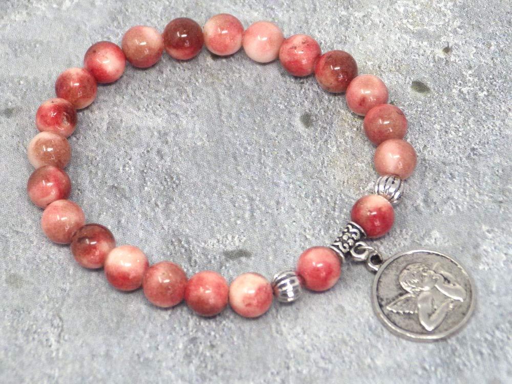 Pulsera Heaven para mujer, de jade natural con medallón que representa un ángel.