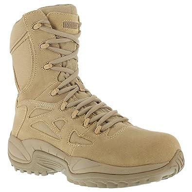 Reebok Womens Desert Tan Suede Tactical Boots Rapid Response RB Side Zip 5 M