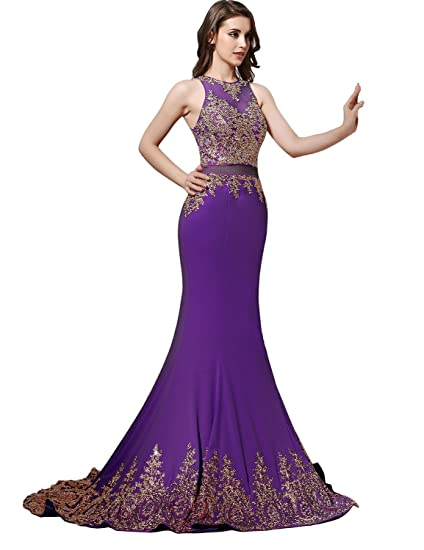 Sarahbridal Sexy False Two Piece Lace Mermaid Cocktail Prom Dress Purple Evening Gown UK18