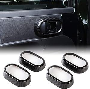 RT-TCZ Door Handle Trim Cover Inner Accessories ABS Door Handle Grab Knob Ring Inserts for Jeep Wrangler 2007-2010 JK JKU Sport X Sahara Rubicon Carbon Fiber