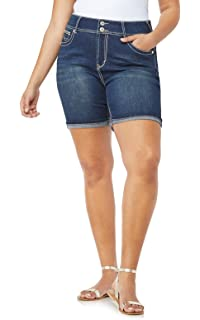 0918e7cbd9 WallFlower Women's Juniors Plus-Size Luscious Curvy Embellished Midthigh  Shorts