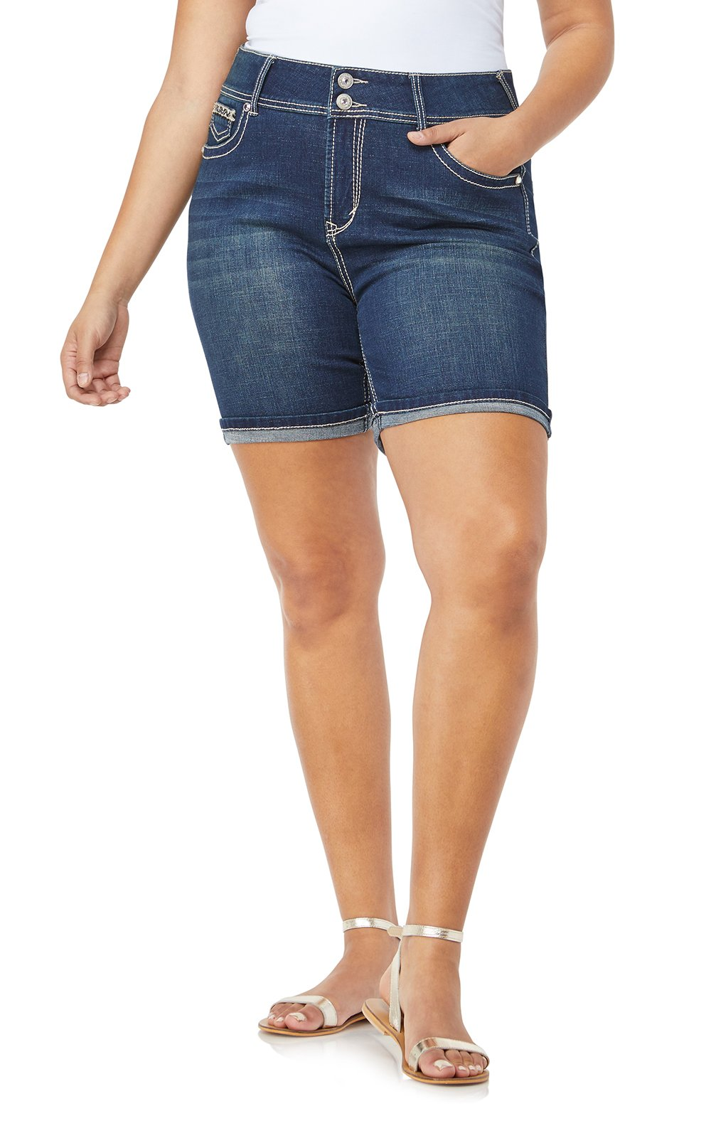 WallFlower Women's Juniors Plus-Size Luscious Curvy Embellished Midthigh Shorts in Betsy, 14 Plus