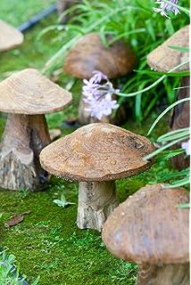 Garden Decorative Reclaimed Teak Mushroom Sculptures Set Of 3, Mushroom  Garden Figures, Lawn Ornament