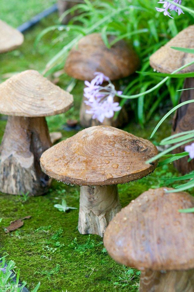 Amazon.com : Garden Decorative Reclaimed Teak Mushroom Sculptures Set Of 3, Mushroom  Garden Figures, Lawn Ornament, Toadstools : Outdoor Statues : Garden U0026 ...