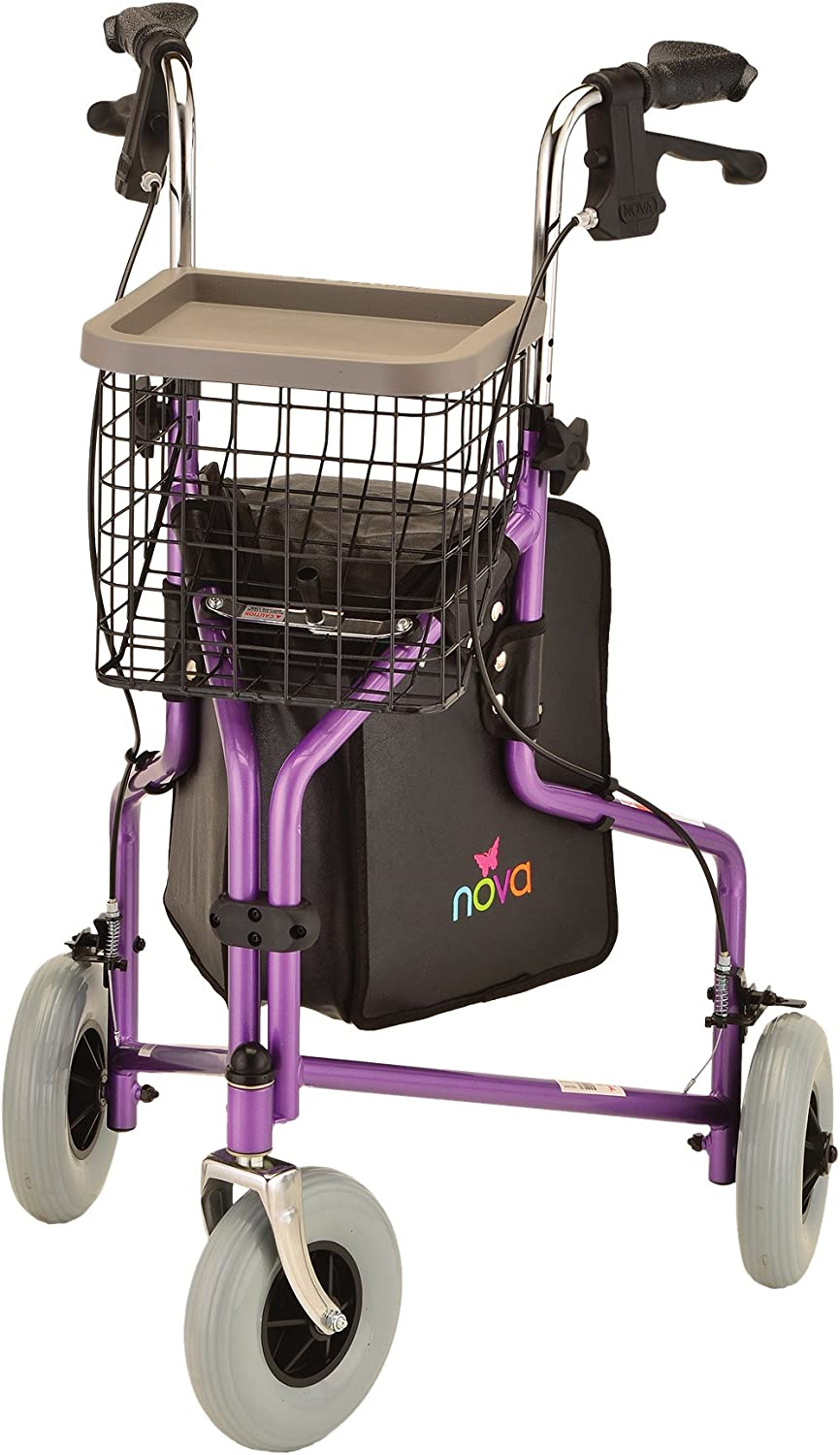"NOVA Traveler 3 Wheel Rollator Walker, All Terrain 8"" Wheels, Includes Bag, Basket and Tray, Purple"