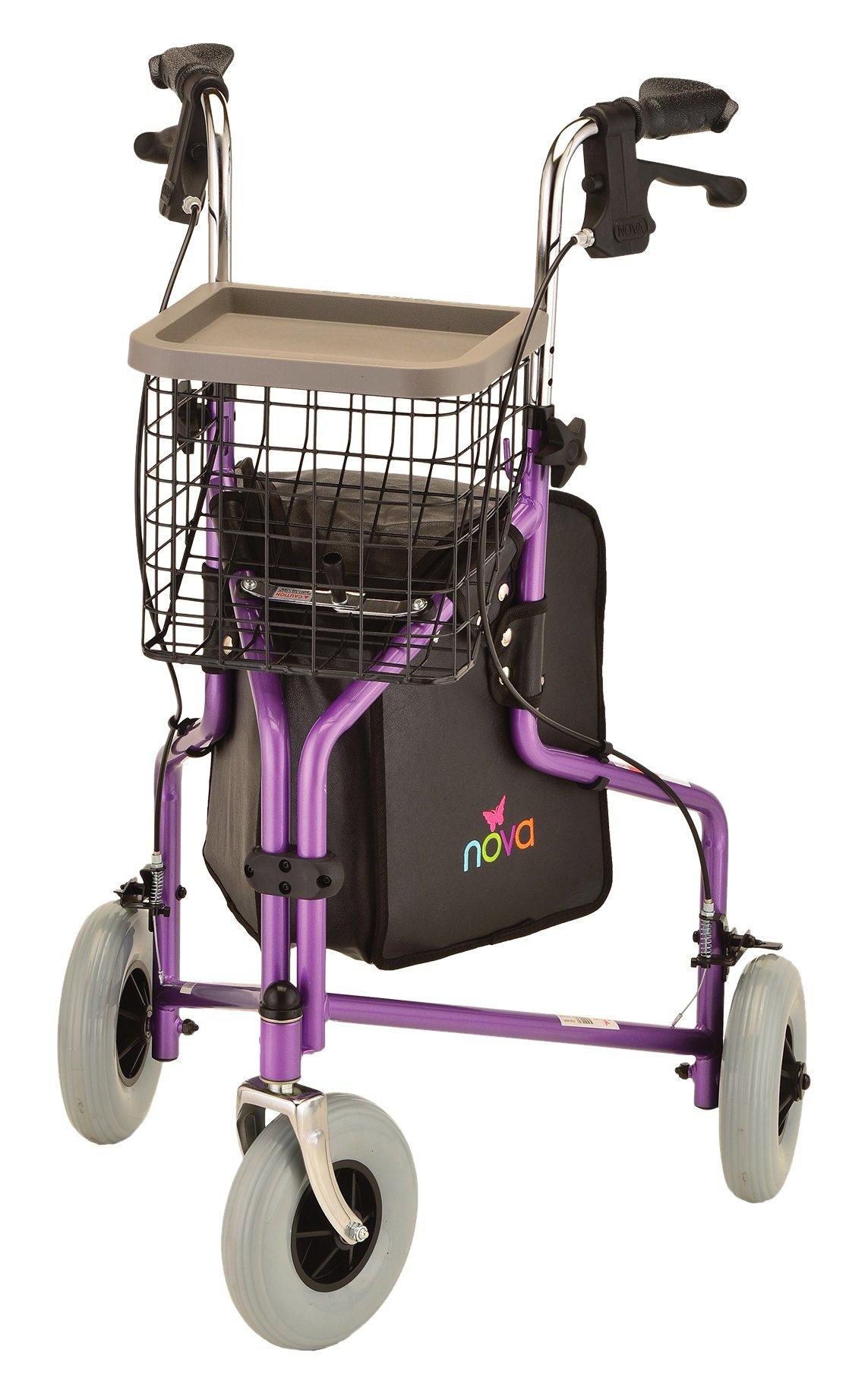 NOVA Traveler 3-Wheeled Rollator Walker, Purple