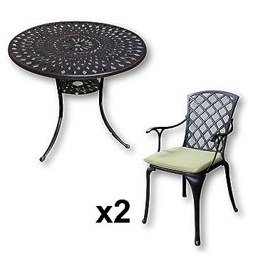 Lazy Susan   MIA 90 Cm Runder Gartentisch Mit 2 Stühlen   Gartenmöbel Set  Aus Metall