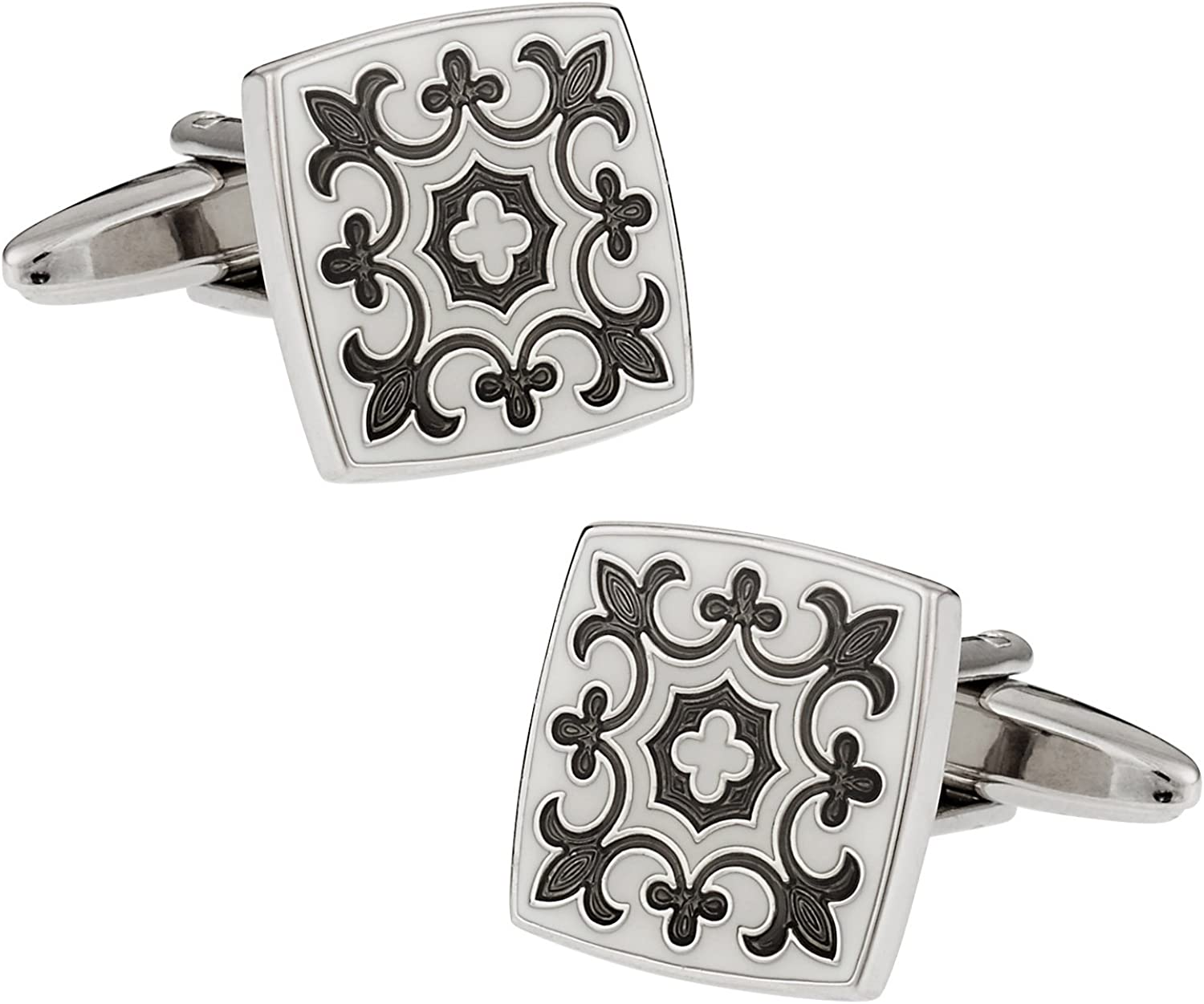 Cuff-Daddy Gray & White Fleur Di Lis Cufflinks with Presentation Box
